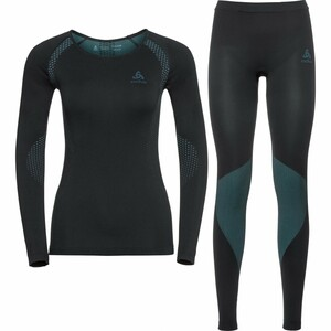 Odlo            Damen Funktionsshirt Set long Essentials schwarz/blue radian