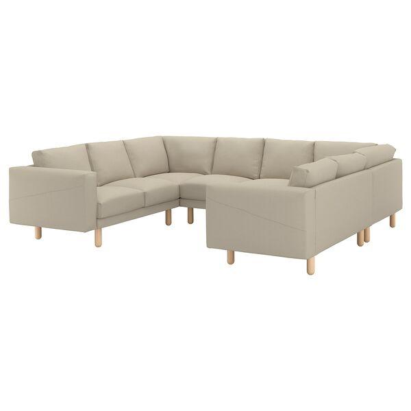 NORSBORG Sofa, U-Form/6-sitzig, Edum beige beige/Birke von ...