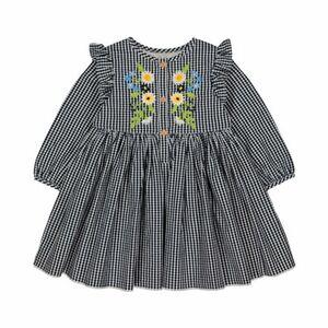 Mothercare   Kleid langarm Karo Rüsche Stickerei