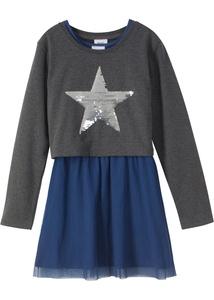Boxy-Sweatshirt mit Wendepailletten + Kleid mit Tüll (2-tlg.)