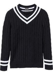 V-Pullover mit Zopfmuster
