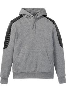 Biker-Sweatshirt mit Lederimitat Details Slim Fit