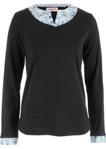 Baumwoll Shirt in Doppeloptik, Langarm
