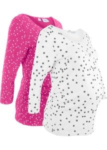 Bedrucktes Umstandsshirt in Bio-Baumwolle mit 3/4-Ärmeln (2er-Pack)