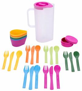 Culinario Kanne mit Tassen, Schüsseln und Besteck