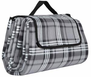 Home Ideas Seasons Camping- und Picknickdecke XXL, Karo schwarz