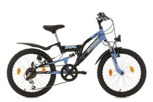 "KS Cycling Kinderfahrrad Mountainbike Fully 20"" Zodiac schwarz-blau"