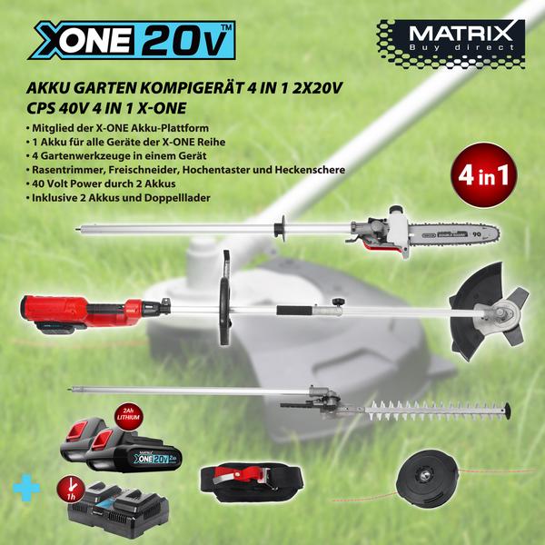 Matrix X-One Li-Ion-Akku-Multifunktionsgerät 4 in 1, 40 V/2 Ah