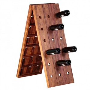 WOHNLING Weinregal Massiv-Holz Sheesham Flaschenregal für 36 Flaschen Standregal mit Kette zusammenk