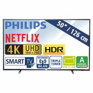 """50""""-Ultra-HD-LED-TV 50PUS6503/12 • TV-Aufnahme über USB, HbbTV • 3 HDMI-/2 USB-Anschlüsse, CI+ • 2 x 10 Watt RMS • Stand-by: 0,3 Watt, Betrieb: 74 Watt • Maße: H 66,3 x B 112,8 x T 8,3"""