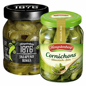Hengstenberg Cornichons oder Jalapeno Rings jedes 370-ml-Glas/125/190-g-Abtropfgewicht