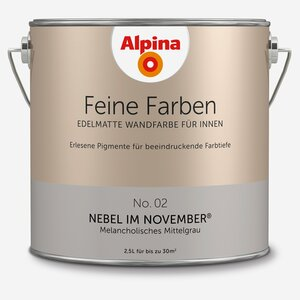 Alpina -              Alpina Wandfarbe 'Feine Farben' No. 02 'Nebel im November' mittelgrau, 2,5 l