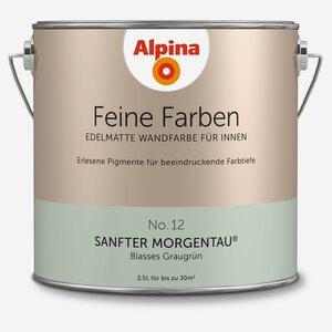 Alpina -              Alpina Wandfarbe 'Feine Farben' No. 12 'Sanfter Morgentau', graugrün, 2,5 l