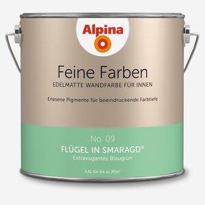 Alpina -              Alpina Wandfarbe 'Feine Farben' No. 09 'Flügel im Smaragd', blaugrün, 2,5 l
