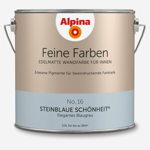 Alpina -              Alpina Wandfarbe 'Feine Farben' No. 16 'Steinblaue Schönheit', blaugrau, 2,5 l