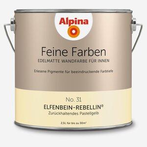 Alpina -              Alpina Wandfarbe 'Feine Farben' No. 31 'Elfenbein-Rebellin', pastellgelb, 2,5 l