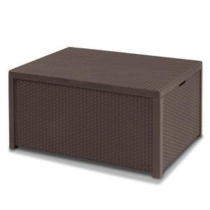 Allibert 220001 Lounge Tisch Arica, Kissenboxfunktion, Rattanoptik, Kunststoff, braun