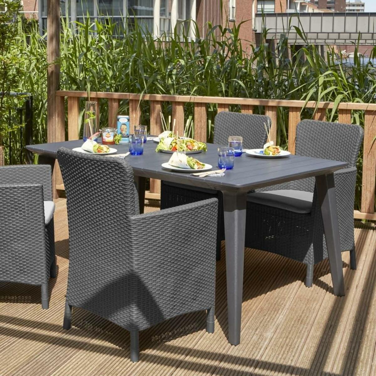 Bild 2 von Allibert Miami Dining 1 Stuhl + Kissen, Graphitgrau