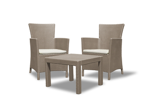 Allibert Rosario Balcony Balkonset in Rattan-Optik - 1 Tisch, 2 Sessel, Cappucino