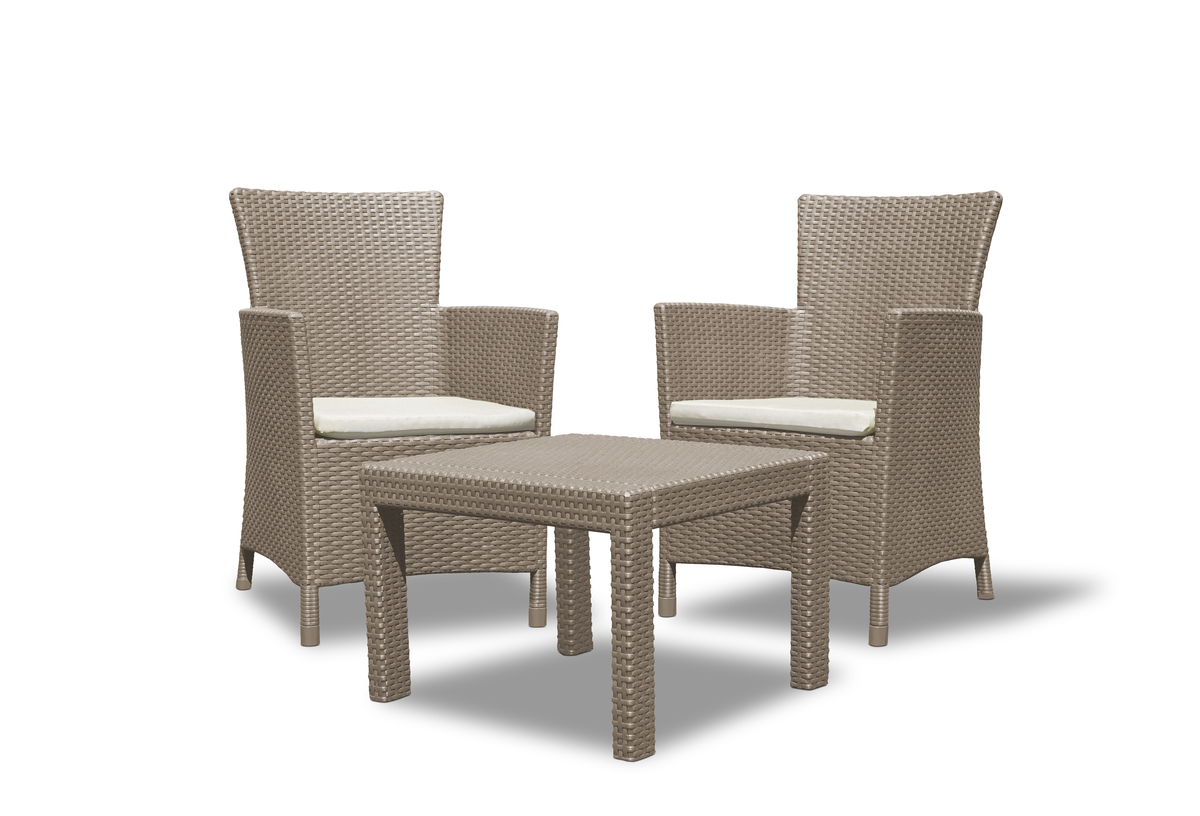 Bild 1 von Allibert Rosario Balcony Balkonset in Rattan-Optik - 1 Tisch, 2 Sessel, Cappucino
