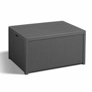 Allibert Arica Storebox Tisch mit Kissenboxfunktion in Rattanoptik, Antharzit