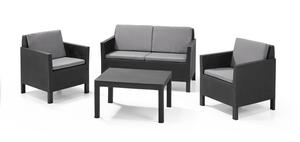 Allibert Chicago Loungeset, Graphit, 4 Sitz(e) + Tisch