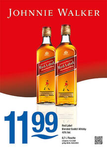 Johnnie Walker Red Label Blended Scotch Whisky 40% Vol.