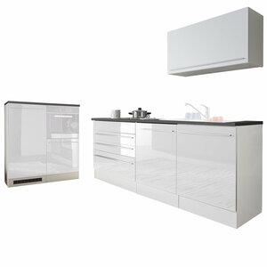 Küchenblock JAZZ - weiß Hochglanz - anthrazit - 320 cm