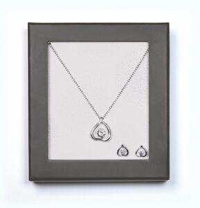 Geschenkset Modeschmuck - Herz, silber mit Stein