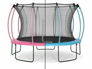 Plum® Colours Springsafe® Trampolin mit Sicherheitsnetz Flamingo Pink/Tropic Türkis