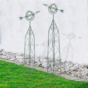 Metall-Rankhilfen Windspiel 2er-Set Antik-Grün