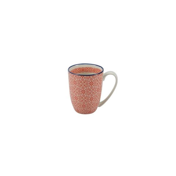 CREATable Kaffeebecher /Henkelbecher /Tasse 300 ml MEDITERRAN Rot gemustert
