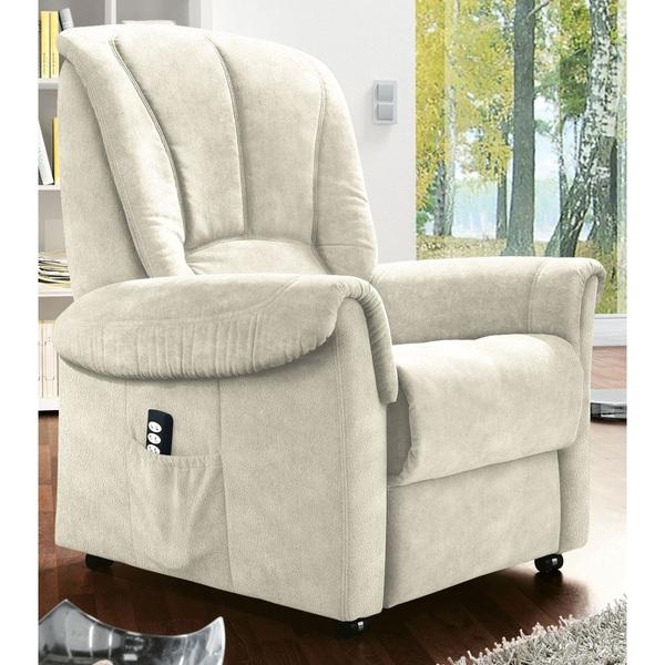 com4lux TV-Sessel mit Aufstehhilfe Stoffbezug naturbeige