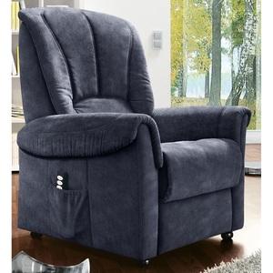 com4lux TV-Sessel mit Aufstehhilfe Stoffbezug denimblau