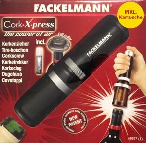 Fackelmann Korkenzieher Wein Luftdruck Cork-X-Press inkl.Kartusche Weinöffner