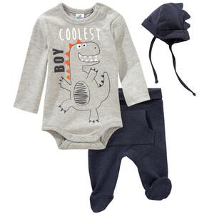 Newborn Langarmbody, Jogginghose und Mütze