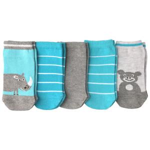 5 Paar Baby Sneaker-Socken mit Tiermotiven