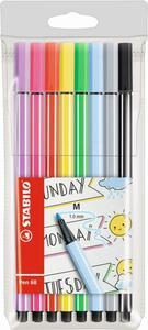 STABILO 8er-Etui Fasermaler Pen 68 Pastell