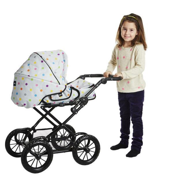 Puppenwagen Combi grau mit Punkten