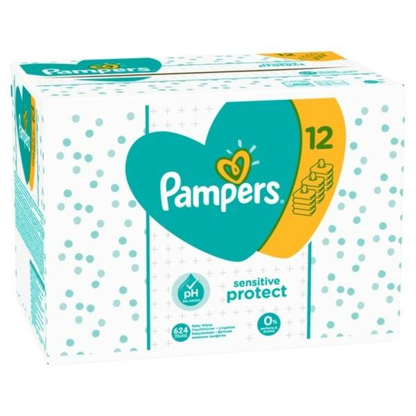 Pampers - Feuchttücher Sensitive Protect Gigapack, 12x52 Stück