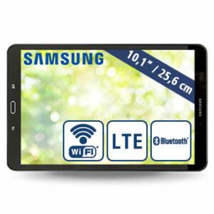Galaxy Tab A T585 · Octa-Core-Prozessor (bis zu 1,6 GHz) · 2 Kameras (8 MP/2 MP) · microSD™-Slot bis zu 200 GB · nanoSIM · Android™ 6.0
