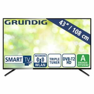 "43""-FullHD-LED-TV 43 GFB 600 • HbbTV • 2 HDMI-Anschlüsse, USB-/CI+-Anschluss • 2 x 16 Watt RMS • Stand-by: 0,45 Watt, Betrieb: 69,1 Watt • Maße: H 56,2 x B 96,9 x T 8,8 cm • Energie-Eff"