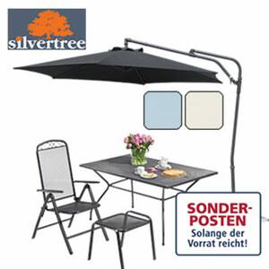 Ampelschirm Sybille Bespannung: beschichtetes Polyester, Aluminium-Schirmstock-42-mm, Lichtschutzfaktor: UPF 50+, wetterbeständig. inkl. Schirmständer