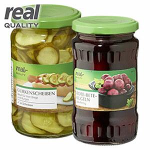 Silberzwiebeln, Kürbis, Rote Bete Kugeln, Mixed Pickles, Karotten- oder Puszta-Salat bitte sortieren Sie selbst 370-ml-Glas/190/200/220 g Abtropfgewicht