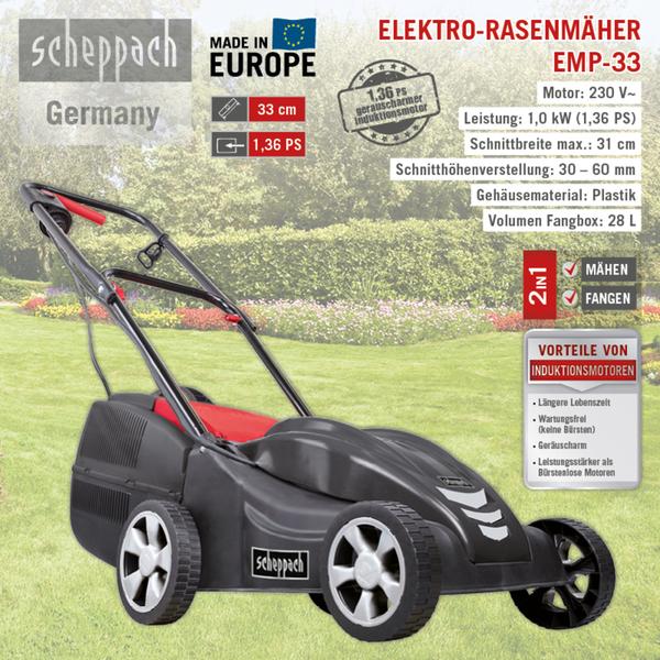 Scheppach Elektro Rasenmäher EMP-33 1.00kW 230V/50Hz