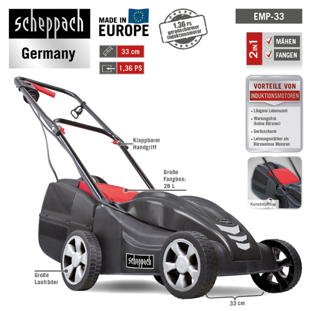 Bild 3 von Scheppach Elektro Rasenmäher EMP-33 1.00kW 230V/50Hz