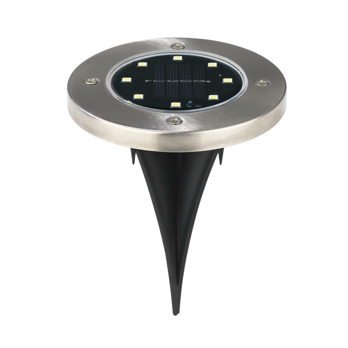 Bild 2 von EASYmaxx Solar-Bodenleuchte 4er-Set 1,2V Edelstahl mit Erdspieß & Wandsticker