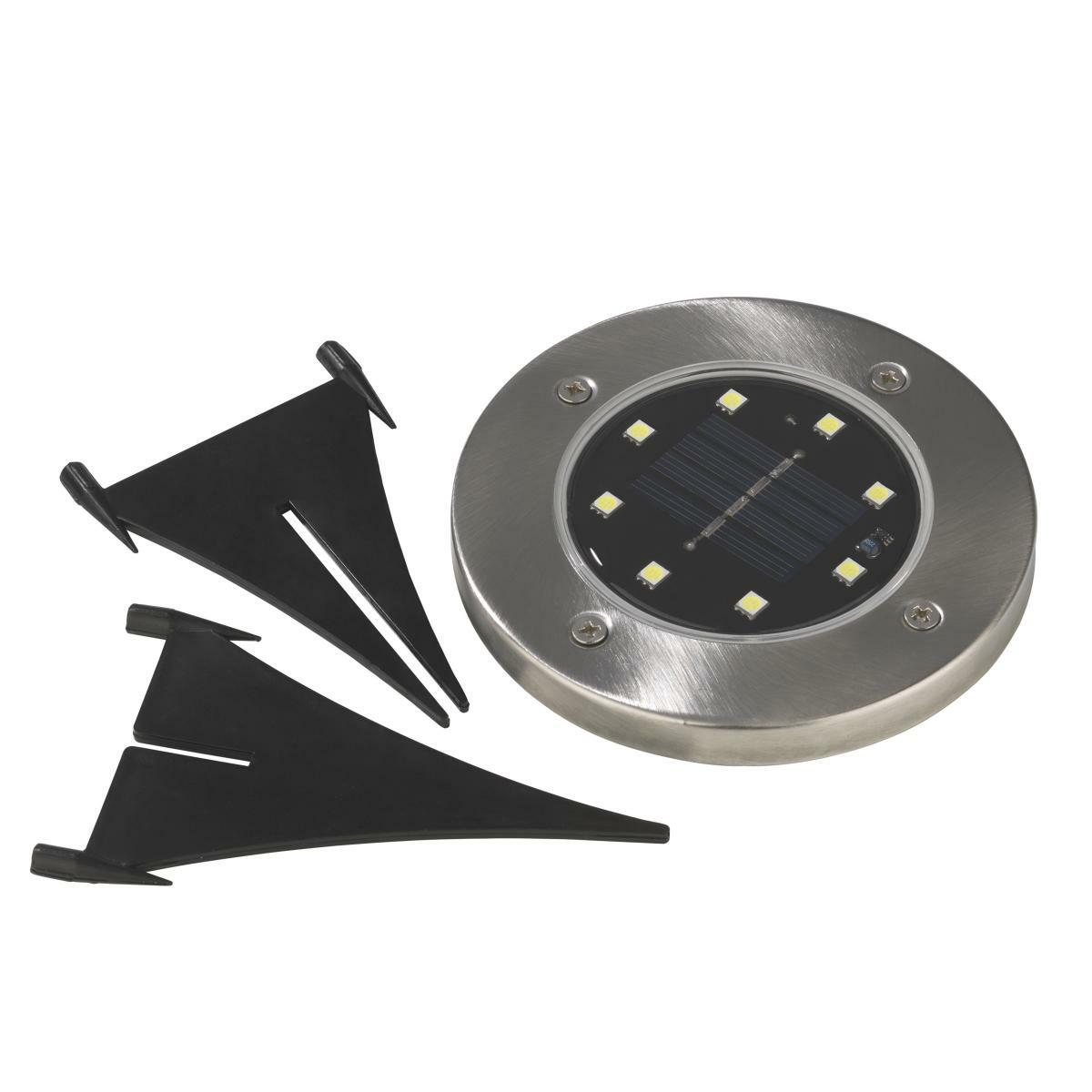 Bild 3 von EASYmaxx Solar-Bodenleuchte 4er-Set 1,2V Edelstahl mit Erdspieß & Wandsticker