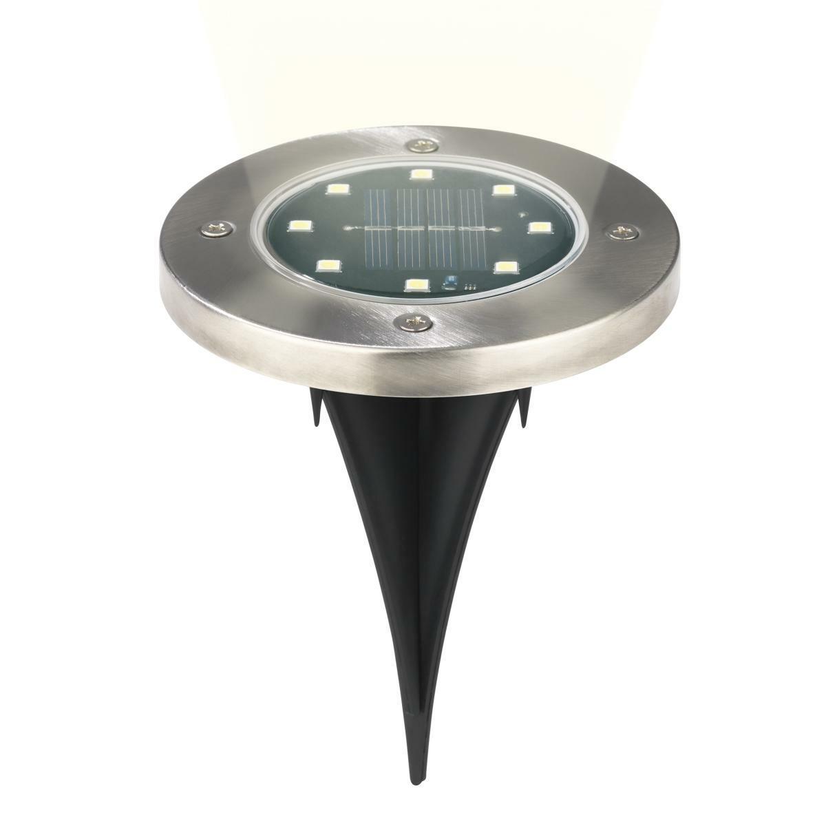 Bild 4 von EASYmaxx Solar-Bodenleuchte 4er-Set 1,2V Edelstahl mit Erdspieß & Wandsticker