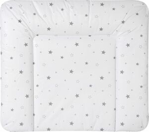 Wickelauflage Sternchen - Maße: ca. 80 x 75 cm, Farbe: weiß mit grauen Sternen
